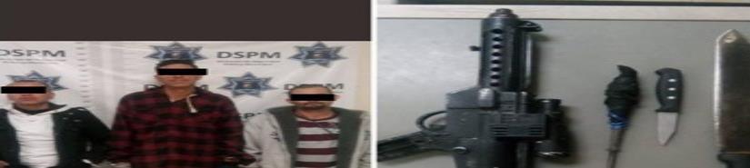Tres detenidos por portación de arma prohibida relacionados con robo con viole