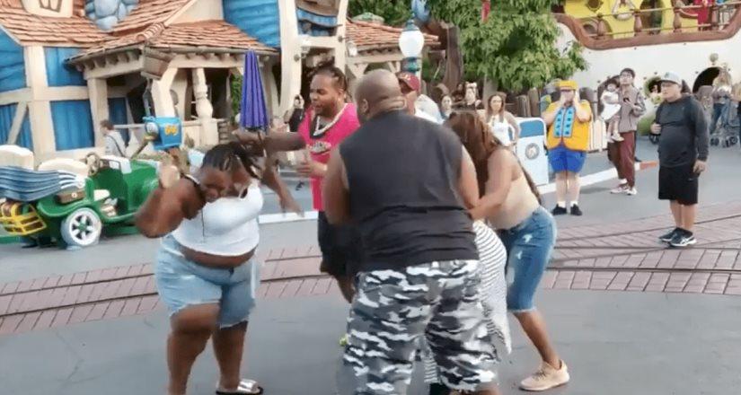 Familia se pelea en Disneyland