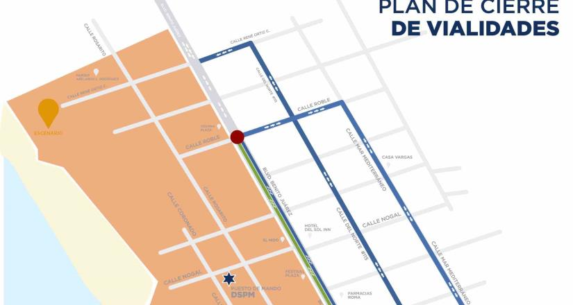 "Anuncia Gobierno Municipal cierre de vialidades en Zona Centro por evento ""Baja Beach Fest Rosarito"""