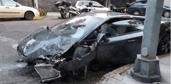 Lamborghini de 6 millones de pesos es abandonado tras choque