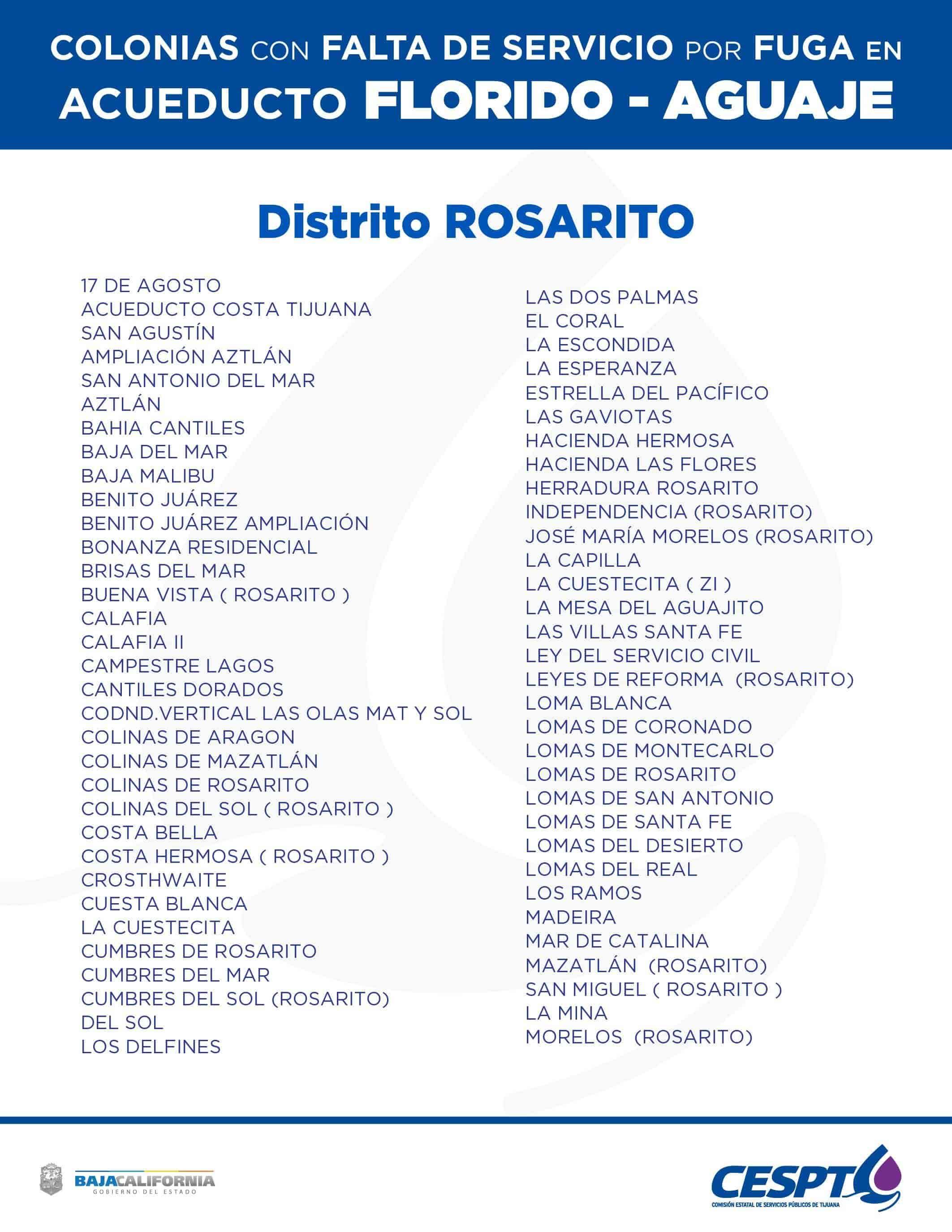 Cespt suspenderá agua a 623 colonias de Tijuana y Rosarito