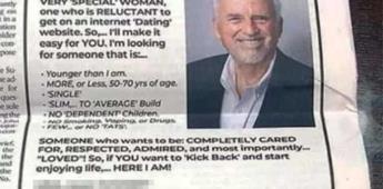 Millonario busca novia a través de un anuncio de periódico