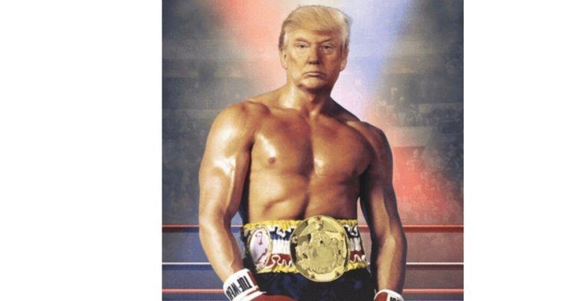 Donald Trump, un fajador en Twitter con el cuerpo de Rocky