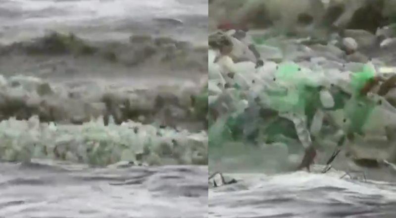 Captan una ola de plástico en el mar de Sudáfrica