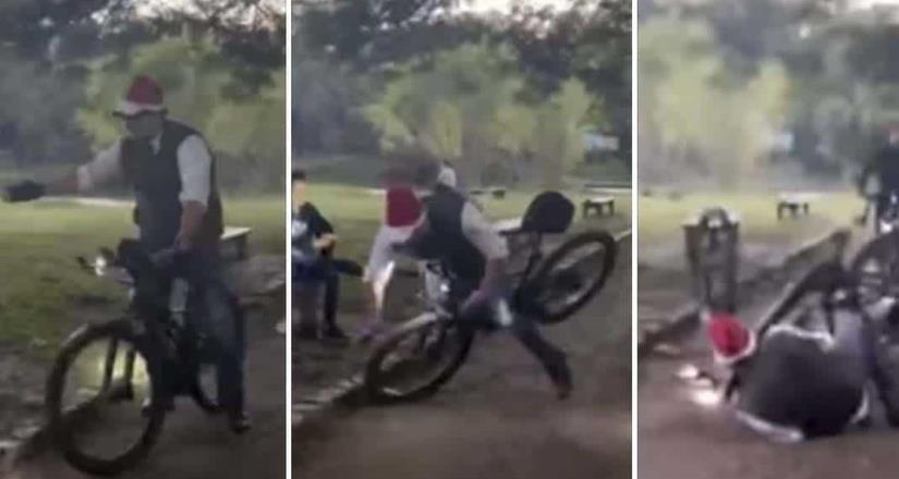 Alcalde cae de bicicleta por desear ¡Feliz Navidad!