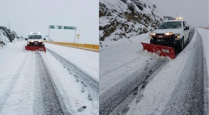 Cierran carretera a La Rumorosa por caída de nieve