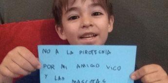 Niño de 6 años busca concientizar sobre el uso de la pirotecnia