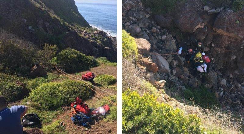 Paramédicos de Cruz Roja Rosarito pone a salvo a una pareja tras caer de acantilado.