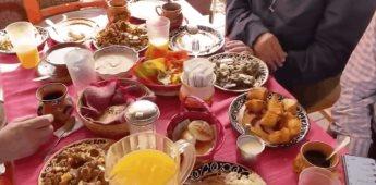 Desayuna el presidente hígado encebollado y tamales en Culiacán