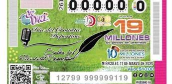 Inscriben Día del Cronista y Salón del Periodista Deportivo en billetes de la Lotería Nacional.