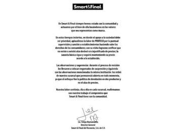 Comunicado: de la tienda de comercio Smart&Final