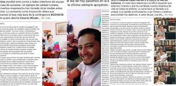 Frente a la crisis del Covid empresario llama a sus empleados familia y sus trabajadores