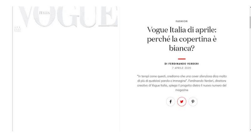 Vogue Italia lanza portada en blanco