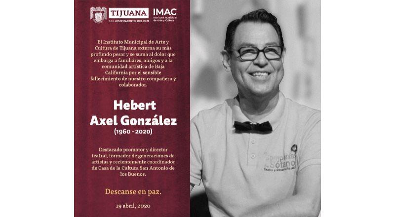 Lamenta IMAC el sensible fallecimiento del maestro y colaborador Hebert Axel González