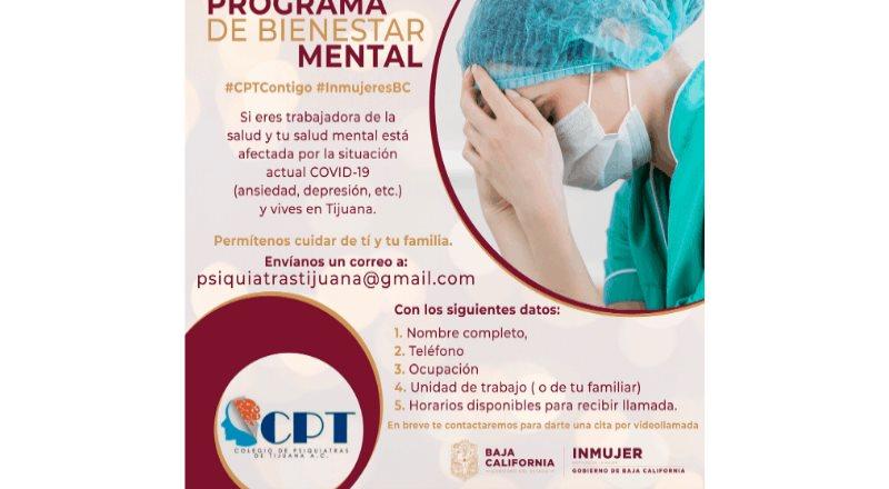 Fortalece INMUJER BC programa Bienestar Mental para personal el sector salud