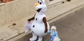 Padre del año: Se disfraza de Olaf  para su hija durante la cuarentena
