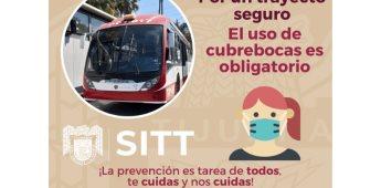 Uso de cubrebocas será obligatorio para usuarios del SITT