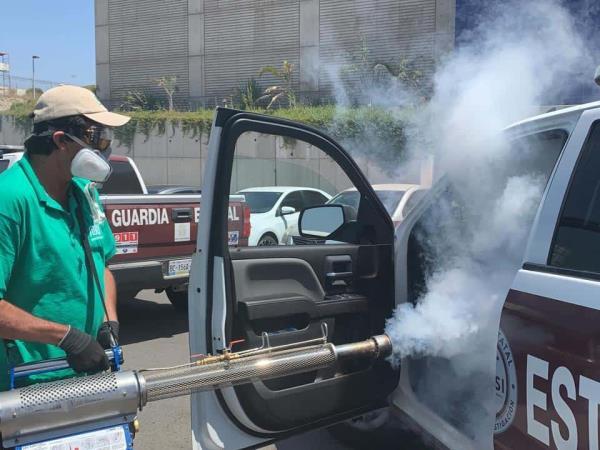 Sanitizan unidades de la Guardia Estatal de Seguridad e Investigación en Tijuana