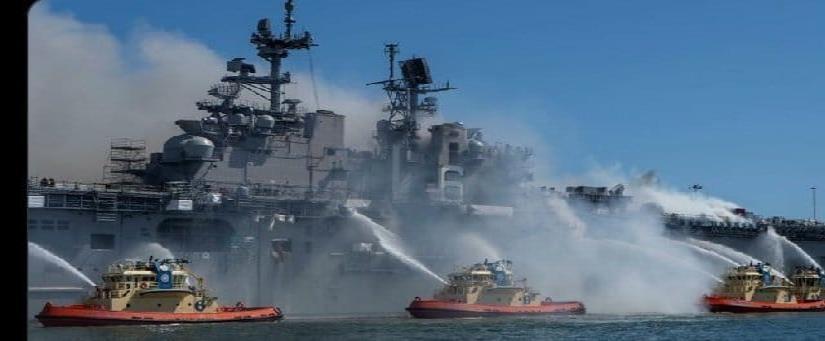 Aumenta a 57 el número de heridos por el incendio en el buque de guerra en San Diego