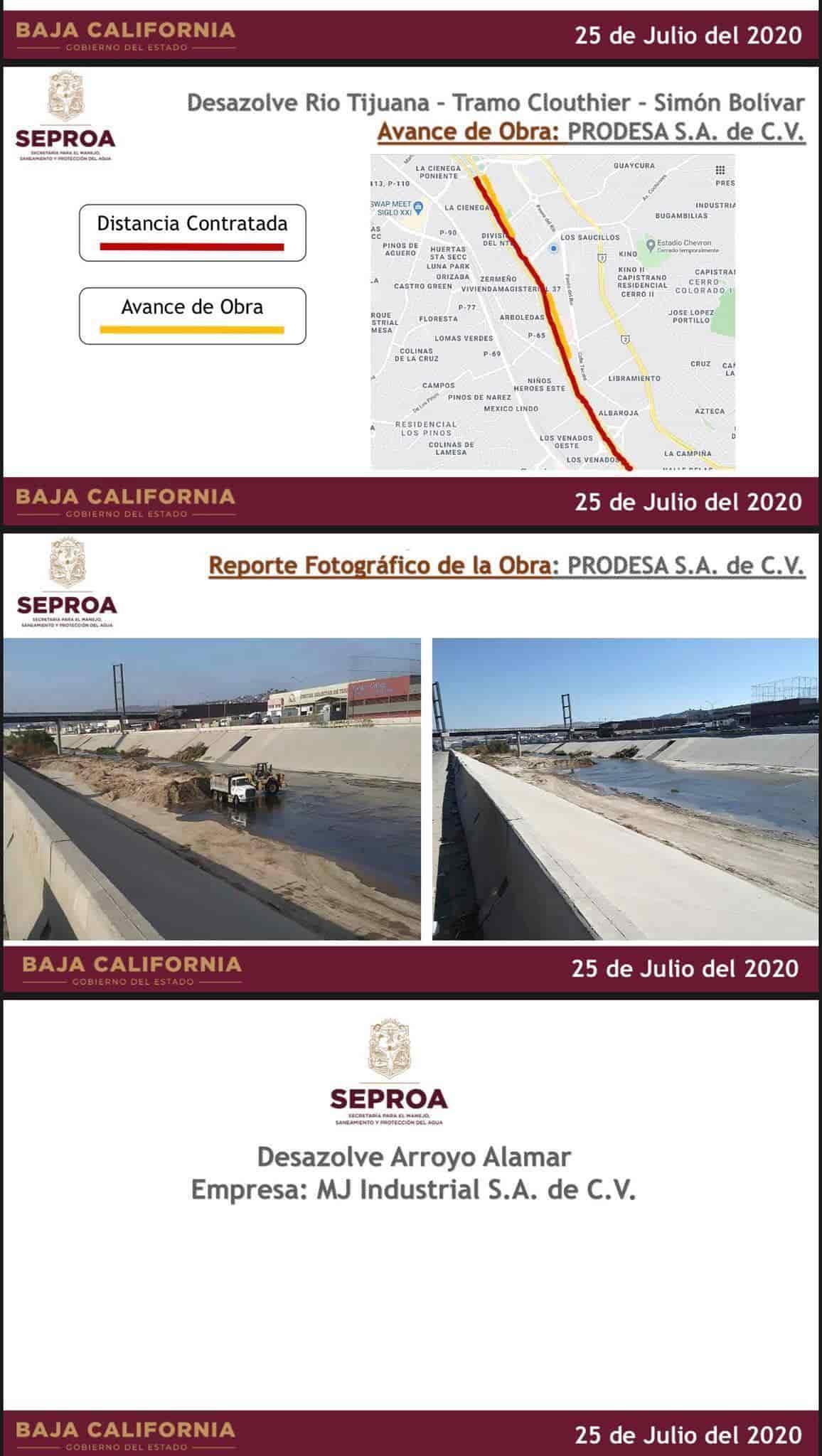 Seproa muestra avance de obra de limpieza en la canalización Río Tijuana Arroyo Alamar
