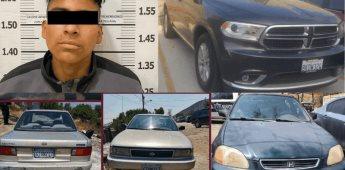 FGE localiza 3 autos robados, uno con reporte de EU; detienen a un ladrón
