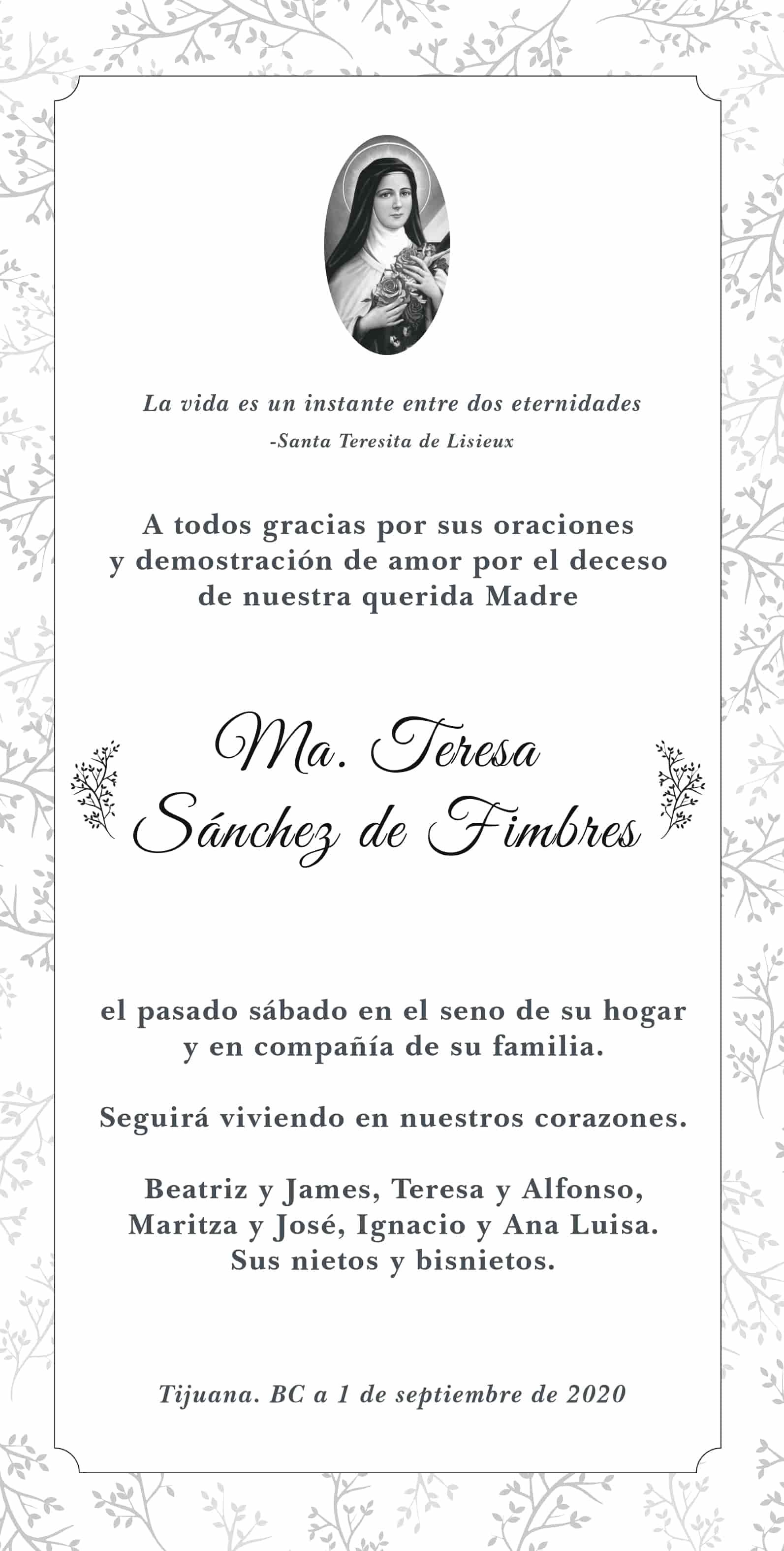 Ma. Teresa Sánchez de Fimbres
