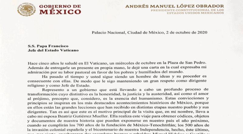 AMLO difunde carta íntegra que mandó con Beatriz al Papa Francisco