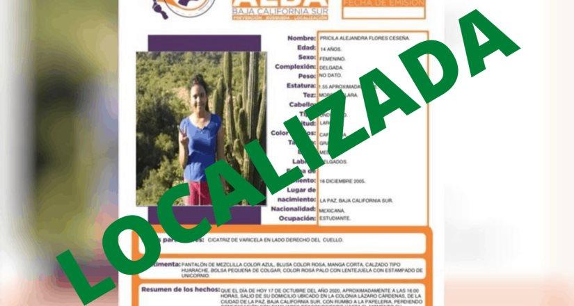 Localizan a menor reportada como desaparecida en Baja California Sur
