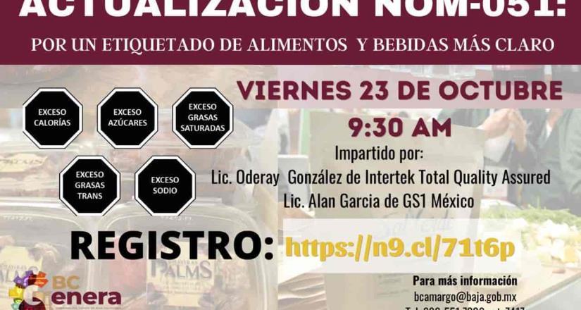 Invita Secretaría del Campo a Curso de Actualización Nom-051: para etiquetado de Alimentos