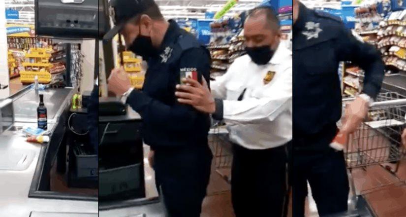 Imagínate con que seguridad estamos: Policía roba objetos y los esconde entre su uniforme en Neza