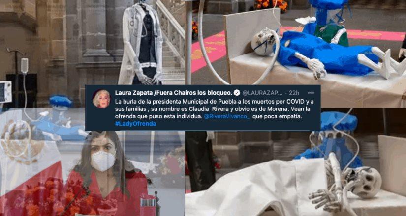 Laura Zapata expone a la presidenta de Puebla, Claudia Rivera #LadyOfrendas