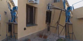 Lo barato sale caro se viraliza accidente al tratar de instalar aire acondicionado