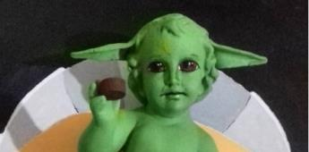 Artista recrea al Niño Dios en una versión de Baby Yoda