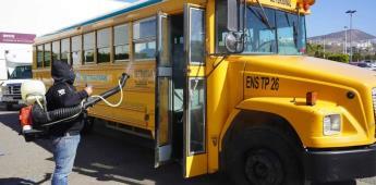 Realiza Servicios Públicos Municipales jornada de desinfección de unidades del transporte público