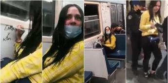 Mujer raya vagón de metro en CDMX, la bautizan como Lady Raya Vagones en redes sociales