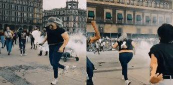 La Reinota, la mujer que regresó la bomba de humo a policías el 8M