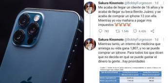 Internauta expone que un adolescente compró un iPhone 12 con su beca Benito Juárez