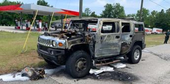 Se incendia Hummer con bidones de gasolina al interior en EU