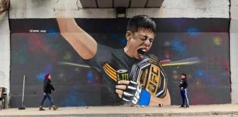 Así amaneció un muro en Tijuana tras el campeonato de Brandon Moreno