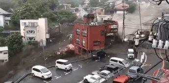 Se capta en vídeo avalancha de lodo tras lluvias en Japón
