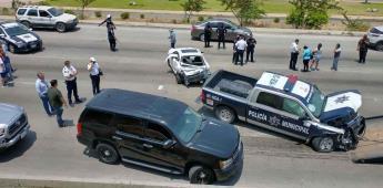 Aparatoso accidente involucra a 7 vehículos en bulevar Rosas Magallón