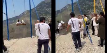 Mujeres caen de un columpio al borde de uno de los cañones más profundos de Europa