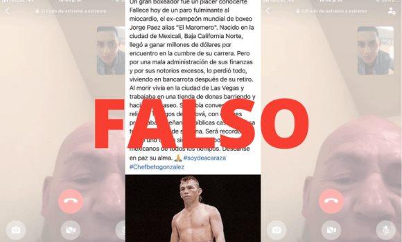 El boxeador y actor, JorgeEl Maromero Paéz, continúa con vida, su hijo lo confirmó tras videollamada