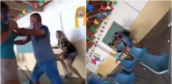 Hombre acompaña a su amante a vacunarse y los encuentra su esposa