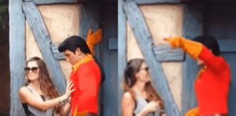 Video: Una chica toqueteó inapropiadamente a un personaje en Disney World y el le pide que se retire