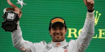 Checo Pérez sube al podio tras finalizar tercero en Turquía